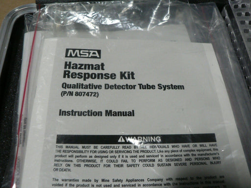(NOS) MSA HAZMAT 807472 TUBE DETECTOR KIT QUAD PORT SAMPLE KWIK DRAW PUMP