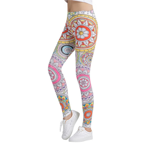 Orange Floral Mandala Pattern Leggings