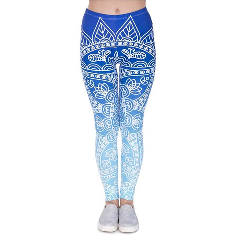 Blue Mandala Pattern Leggings