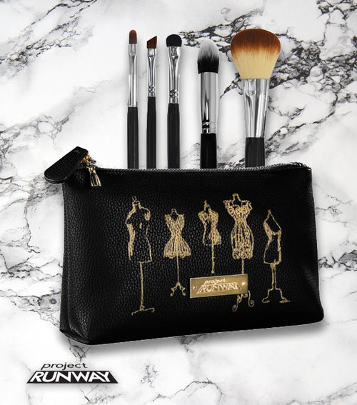 DESIGNER MAKEUP BAG WITH 5 PROFESSIONAL MAKEUP BRUSHES