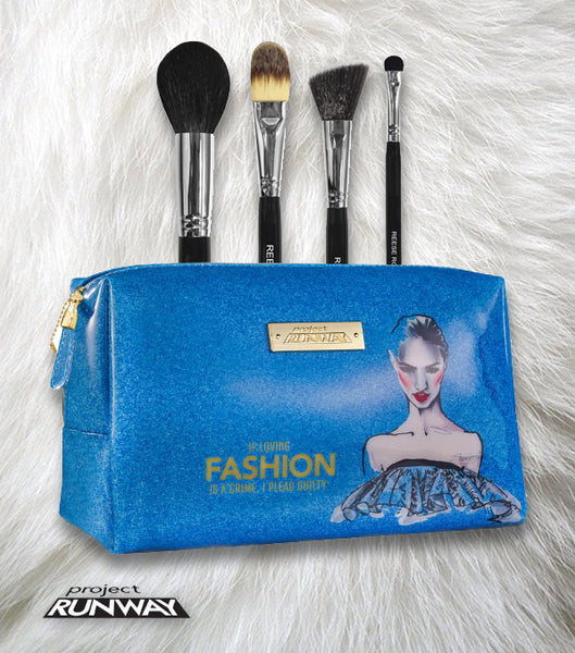 DESIGNER MAKEUP BAG WITH 4 PROFESSIONAL MAKEUP BRUSHES