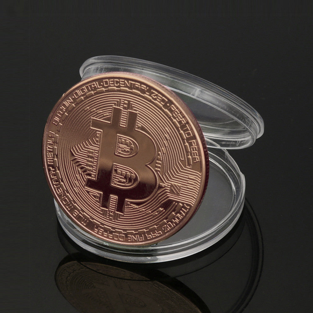 1x Copper Plated Bitcoin Coin Collectible Gift BTC Coin Art Collection Physical