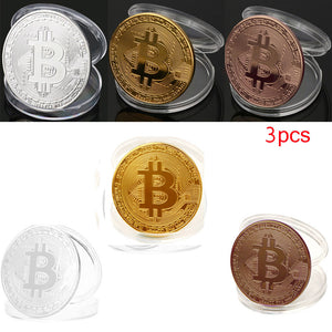 3Pcs  Plated Bitcoin Coin Collectible Gift BTC Coin Art Collection Physical