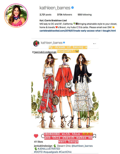 082528e83ed9a Portrait Illustrations by Jen Lublin of Kathleen Barnes (Carrie Bradshaw  Lied) featured on the blogger s Instagram Stories