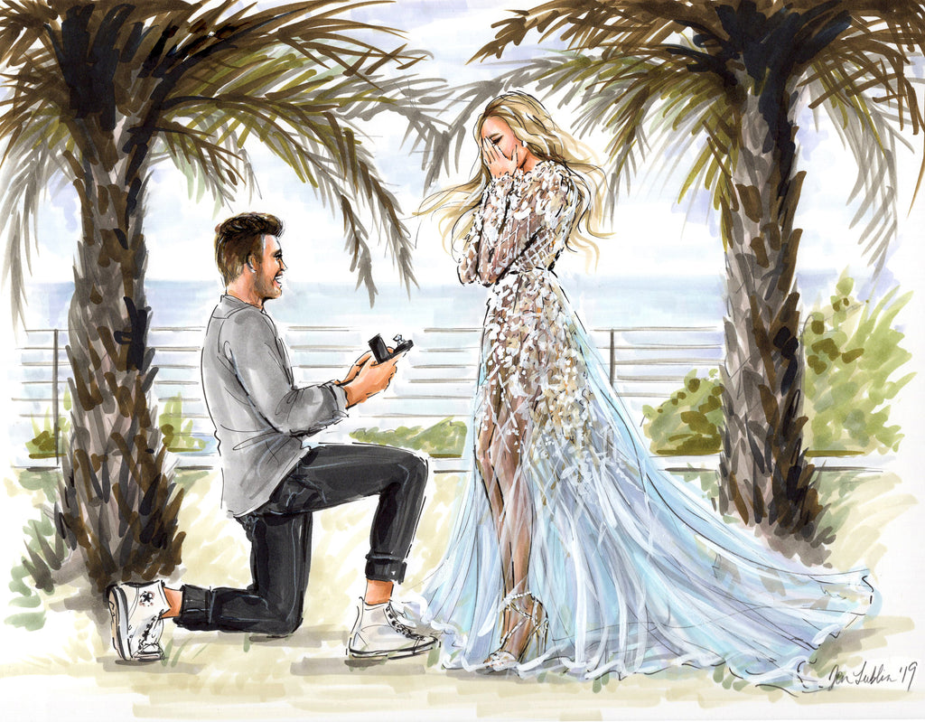 Hayley Paige commissioned engagement illustration by Jen Lublin Design