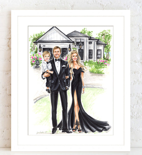 BASIC Custom Illustration (BLACK TIE) with Background   ~    3 - 4 Full Figures