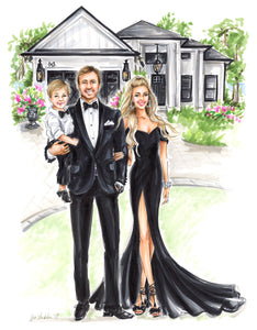 PREMIER Custom Illustration (BLACK TIE) with Background   ~    3 - 4 Full Figures