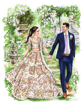 BASIC Custom Wedding Illustration - with Background (Starting at $900+)