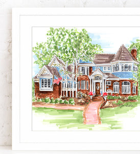 PREMIER Custom Whimsical Home & Landscape Illustration (Starting at $650+)