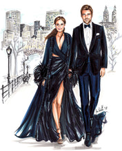 BASIC Custom Illustration (BLACK TIE) with Background   ~   1 - 2 Full Figures