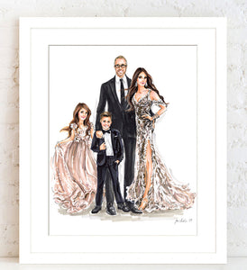 BASIC Custom Illustration (BLACK TIE) on Solid Background   ~   3-4 Full Figures