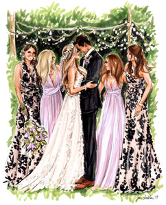PREMIER Custom Wedding Illustration - with Background ($900 - $1,800)