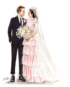 BASIC Custom Wedding Illustration - Solid Background ($600 - $1,250)