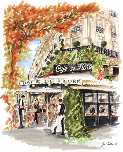 Streets of Paris ~ Café de Flore (Original Artwork)
