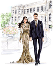 PREMIER Custom Illustration (BLACK TIE) with Background   ~    1 - 2 Full Figures