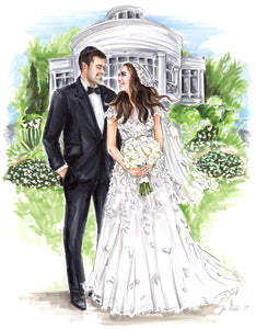 PREMIER Custom Wedding Illustration - with Background (Starting at $1,100+)