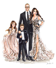PREMIER Custom Illustration (BLACK TIE) on Solid Background  ~  3-4 Full Figures