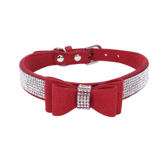 Rhinestones Bow Knot Collar Dog Cat Bling Soft Cute Tie Collar - Pets Emporium
