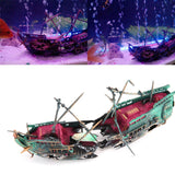 24*12cm Large Aquarium Decoration Boat Plactic Aquarium Ship Air Split Shipwreck Fish Tank Decor Wreck Sunk - Pets Emporium
