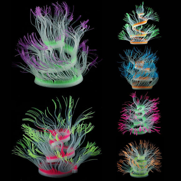 Artificial Sea Anemone Plant Silicone Aquarium Water Ornament Fish Tank Decor Set - Pets Emporium