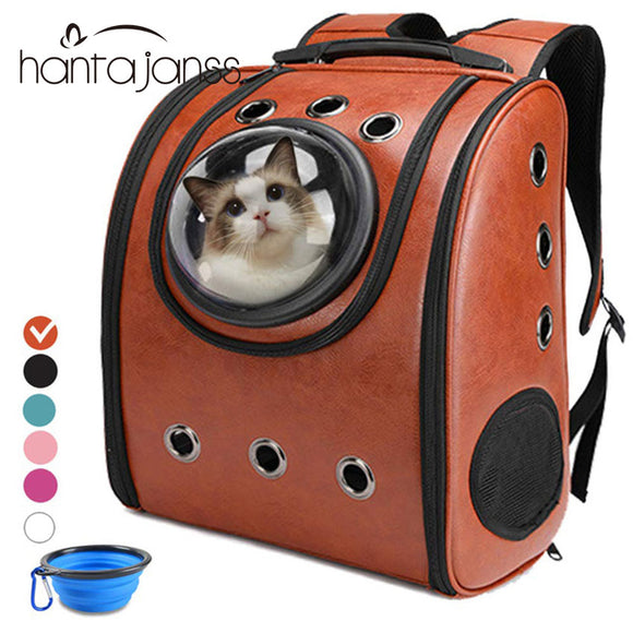 Cat carrier Backpack Breathable Travel Leather Shoulder Bag for Pet Cat Soft Capsule Bag Outdoor Portable Packaging Carrier - Pets Emporium