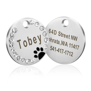 Dog ID Tag Customized Engraved Crystal Metal Pet - Pets Emporium