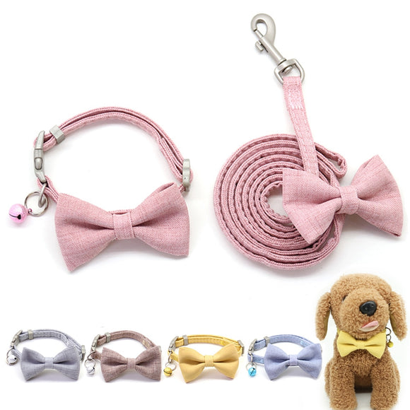 Dog Leash Collar Set Adjustable Soft Cute Bow Double Layer Dog Collar for Small Medium Pet Collar Leash Outdoor Walking - Pets Emporium