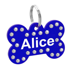 Personalized Crystal Dog ID Tag Customized Rhinestone Bone Shape Name Tag Plate Cat Dog Accessories - Pets Emporium