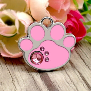 Personalized Dog ID Tag Bone Paw Shape Cat Pet Tags Custome Engeaved Nameplate Rhinestone Pink Pets Name Tags - Pets Emporium