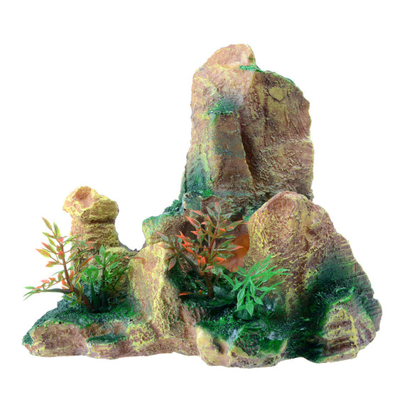 Saim Simulate Rockery Mountain View Yellow Aquarium Accessorie For Aquarium Rock Artificial Plants Mountain Fish Tank View Stone - Pets