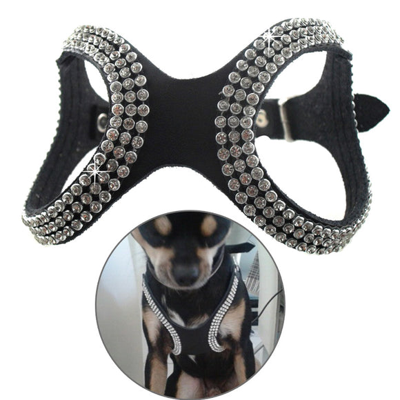 PU Leather Bling Rhinestone Dog Harness - Pets Emporium