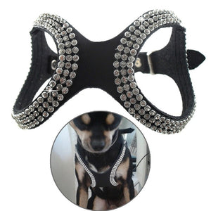 PU Leather Bling Rhinestone Dog Harness
