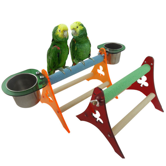 Three Acrylic Tripod With Cups For Birds - Pets Emporium