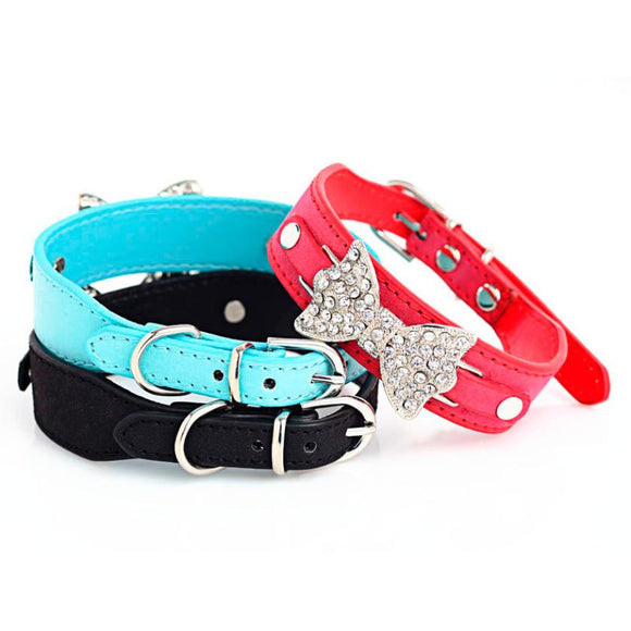 Super Deal Dog Collar, Bling Crystal With Leather, Dog Necklace