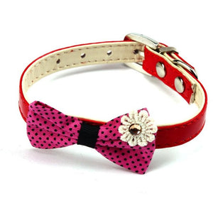 Bowknot Adjustable Dog or Puppy Imitation leather Collars / Necklace - Pets Emporium