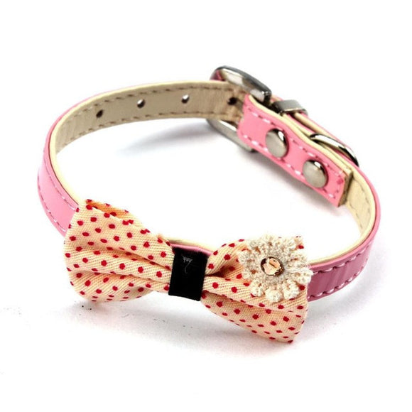 Bowknot Adjustable Dog or Puppy Imitation leather Collars / Necklace