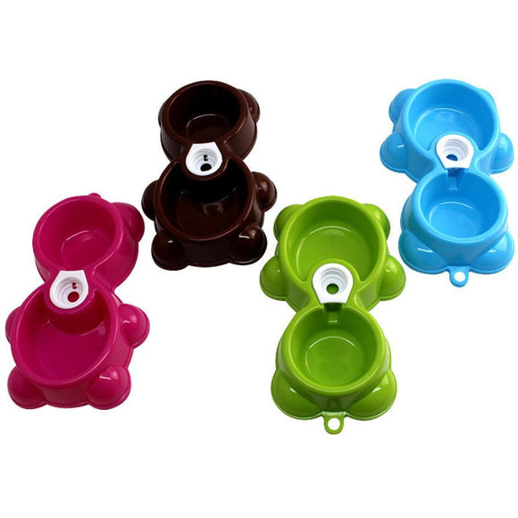 Bear Dish For Water Or Food, Double Bowl For Puppy, Dog Or Cat