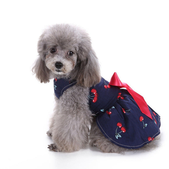 Cute Cherries And Ribbon Dress - Pets Emporium
