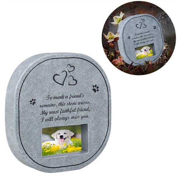 Pet Memorial Grave Stone with Photo Frame for Dogs/Cats - Pets Emporium