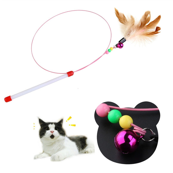 Cat Toy Wire Chaser Wand Teaser Feather With Bell Beads - Pets Emporium