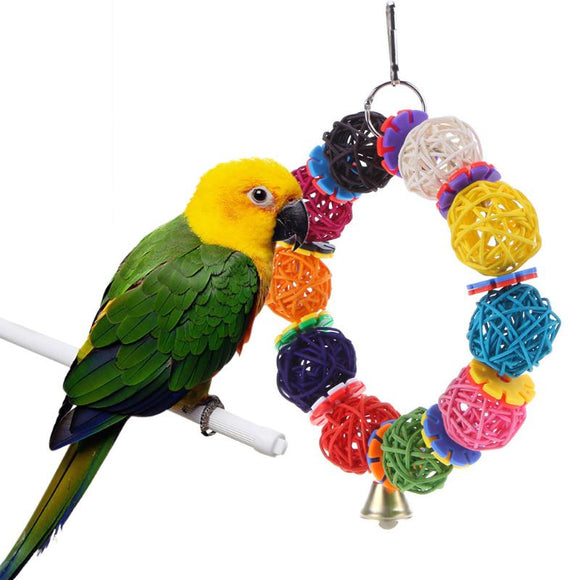 Colorful Birds Parrot Toys Vine Balls with Bell