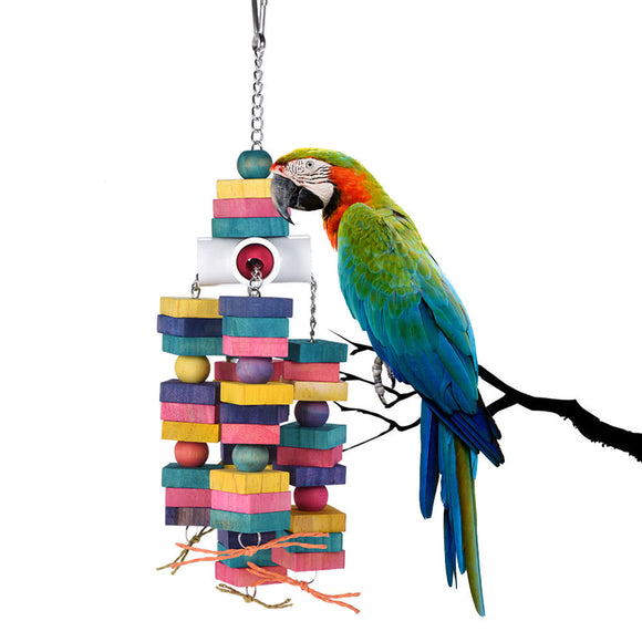 Colorful Healthy Natural Wood Chewing Toy for Birds