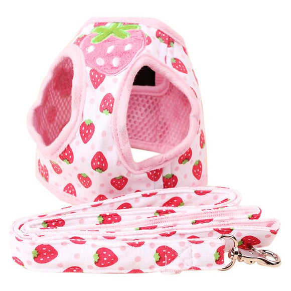 Cute Strawberry Adjustable Soft Dog Harness