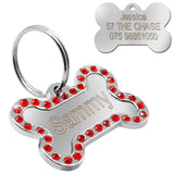 Bling Rhinestone Personalized Bone Shape Dogs/Cat ID Tag - Pets Emporium