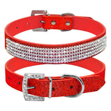 Diamante Rhinestone PU Leather Dog Collar (3-5 days delivery) - Pets Emporium