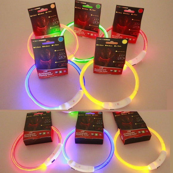 Pets LED Collar Rechargeable USB Adjustable Flashing Safety Collar - Pets Emporium
