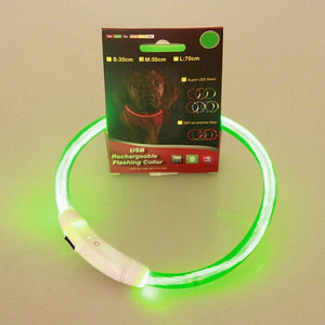 Pets LED Collar Rechargeable USB Adjustable Flashing Safety Collar
