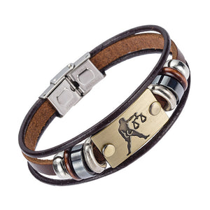 Zodiac Signs Bracelet With Stainless Steel Clasp Leather Bracelet - Tauren Shop