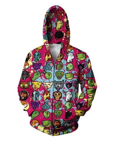 Cartoon Collage 3D Printed Zip Up Hoodie for Men women