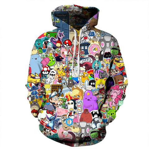 Harajuku Anime Cartoon Hoodies Kawaii 3D Hooded Sweatshirt